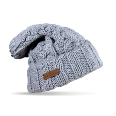 Mütze Gablonz U lang (Wolle hell grau 902)