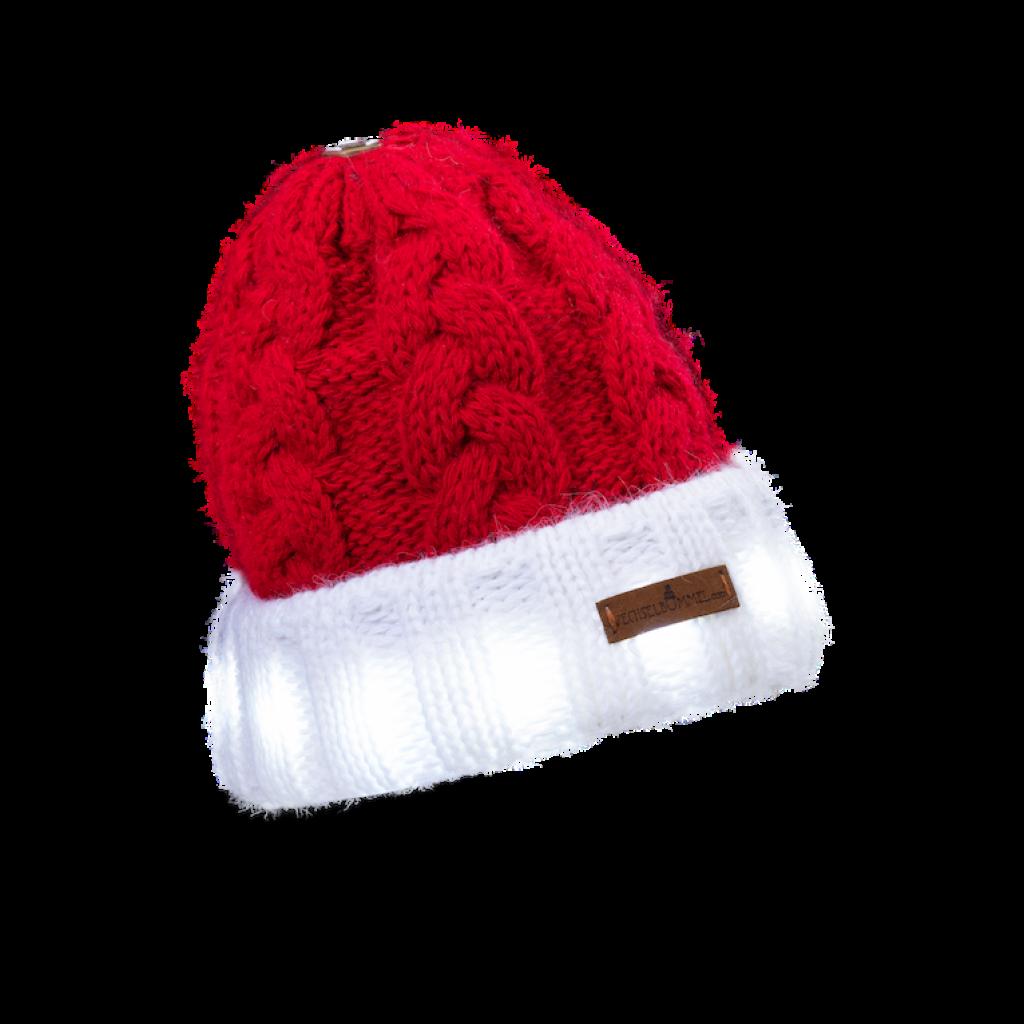 Leucht Weihnachts Mütze Gablonz U short (Wolle rot/weiß 293)